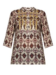 Figue Jasmine Sequin Embellished Silk Tunic Top Ivory Multi