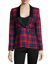 Smythe Blazer W Shawl Lapel Tartan Black Tartan With Black