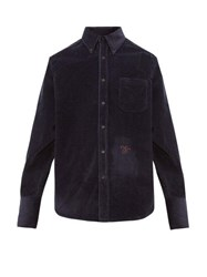 Wales Bonner Monogram Embroidered Cotton Corduroy Shirt Navy