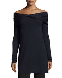 Derek Lam Twisted Off Shoulder Long Sleeve Tunic Navy