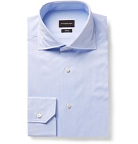 Ermenegildo Zegna Light Blue Cutaway Collar Striped Cotton Shirt Light Blue