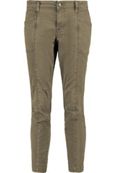 J Brand Byrnes Cropped Cotton Blend Slim Leg Pants Army Green