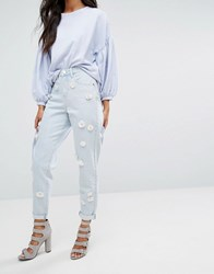 Lost Ink Mom Jeans With Floral Embellishment Blue