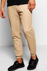 Boohoo Cotton Twill Skinny Chinos With Cuff Hem Stone