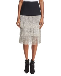 Michael Kors Layered Chain Fringe Skirt Black