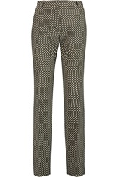 Jonathan Saunders Linda Printed Silk And Wool Blend Straight Leg Pants Green