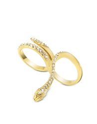 Just Cavalli Just Medusa Two Fingers Golden Steel Ring W Crystals