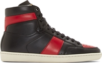 Saint Laurent Black And Red Court Classic High Top Sneakers