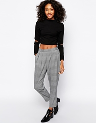Monki Checked Tailored Trouser Blackwhite