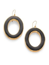 Nest Black Horn Oval Drop Earrings