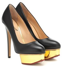 Charlotte Olympia Dolly Leather Plateau Pumps Black