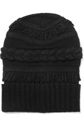 Agnona Fringed Cable Knit Wool And Cashmere Blend Beanie Black