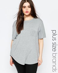 Missguided Plus Pocket T Shirt Grey