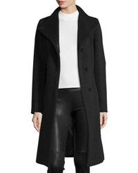 Cinzia Rocca Belted Wool A Line Coat Black