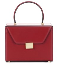 Victoria Beckham Vanity Box Leather Tote Red