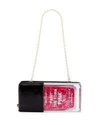 Betsey Johnson Nail Polish Patent Faux Leather Clutch Bag Black Multi