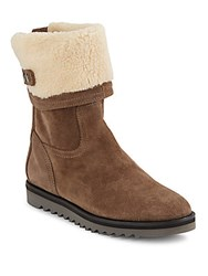 Aquatalia By Marvin K Perdi Suede And Faux Fur Lined Booties Taupe