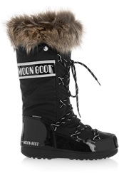 Moon Boot Faux Fur Trimmed Pique Shell And Faux Patent Leather Snow Boots