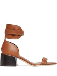 Burberry Gold Plated Detail Leather Block Heel Sandals Brown