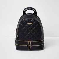 River Island Womens Black Quilted Zip Backpack