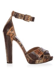 Alexander Mcqueen Leather Block Heel Platform Sandals Brown Multi