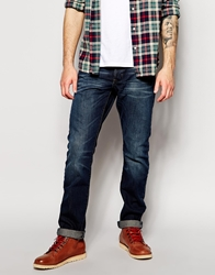 Esprit Washed Jeans With Whiskering In Slim Fit Darkstonewashed