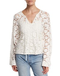 Elizabeth And James Chantalle Long Sleeve Cotton Lace Top Ivory