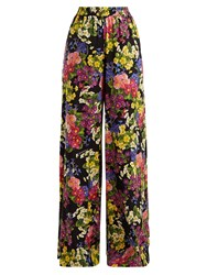 Dolce And Gabbana Floral Print Silk Blend Charmeuse Trousers Black Multi