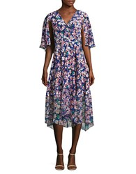 Tracy Reese V Neck Floral Silk Dress Ditsy Floral