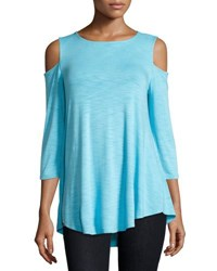 Neiman Marcus Swingy Cold Shoulder Top Sky