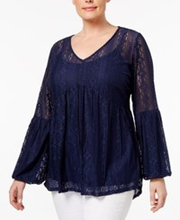 Ny Collection Plus Size Lace Empire Waist Top Evening Roseivy