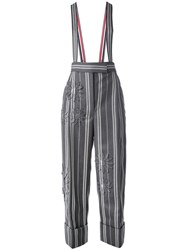 Thom Browne Striped Trousers With Suspenders Women Cotton 40 Grey
