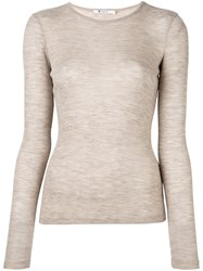 Alexander Wang T By Fine Knit Ribbed T Shirt Nude And Neutrals