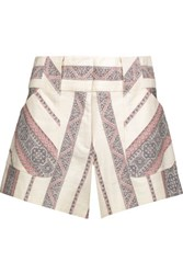 Derek Lam 10 Crosby Cotton And Linen Blend Jacquard Shorts Off White