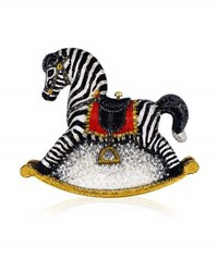 Judith Leiber Toby Zebra Rocking Horse Evening Clutch Bag Champagne Multi