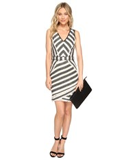 Adelyn Rae Striped Fitted Dress Black Ivory Women's Dress