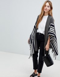 Qed London Knitted Striped Cape Grey