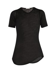 Frances De Lourdes Hardy Round Neck Cashmere And Silk Blend T Shirt Black
