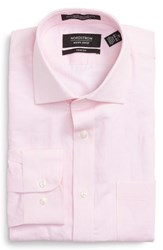 Nordstrom Men's Big And Tall Men's Shop Trim Fit Solid Linen And Cotton Dress Shirt Pink Lilac