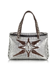 Roberto Cavalli Regina Silver Embossed Croco Leather Handbag W Crystals