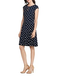 Ralph Lauren Dot Print Dress Lighthouse Navy Colonial Cream