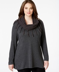 Style And Co. Plus Size Sweater With Cable Knit Scarf Only At Macy's Charcoal Heather