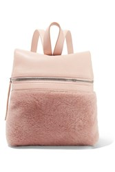 Kara Small Textured Leather And Shearling Backpack Antique Rose