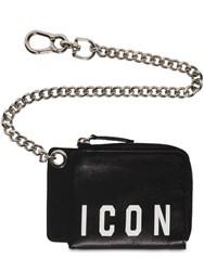 Dsquared Icon Print Leather Wallet W Chain Black White