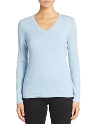 Lord And Taylor Plus Merino Wool Basic V Neck Sweater Cool Blue Heather
