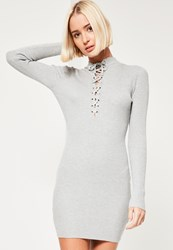 Missguided Grey Lace Up Front Mini Dress