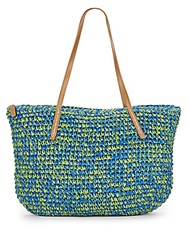 Saks Fifth Avenue Two Tone Straw Tote Turquoise Green