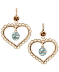 Betsey Johnson Gold Tone Clear And Blue Crystal Heart Drop Earrings