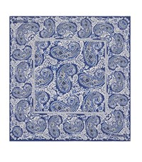 Turnbull And Asser Paisley Print Prink Silk Pocket Square Unisex Blue