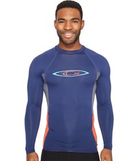 O'neill Skins Graphic Long Sleeve Crew Navy Graphite Neon Red Men's Swimwear Blue